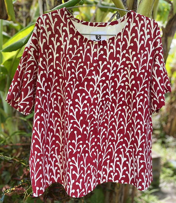 草の実 燕脂のコットンシャツ<br>Cottonshirts - kusanomi enji