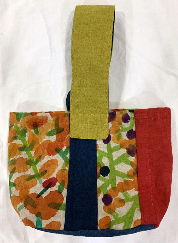 手描き染めパッチワークのラミーバッグ 秋<br>Hand-dyed Patchwork ramie-autumn