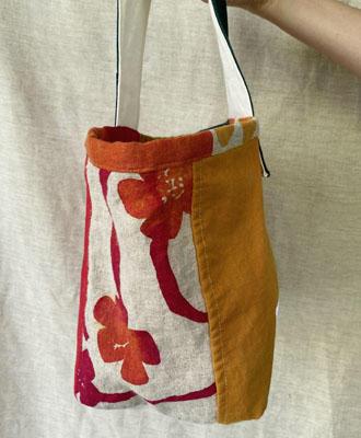 手描き染めパッチワークの帆布バッグ 星<br>Hand-dyed Patchwork Canvas Bag-a star