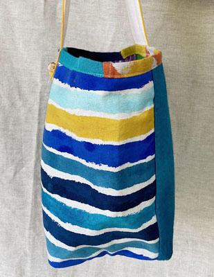 手描き染めパッチワークの帆布バッグ 夏<br>Hand-dyed Patchwork Canvas Bag-summer