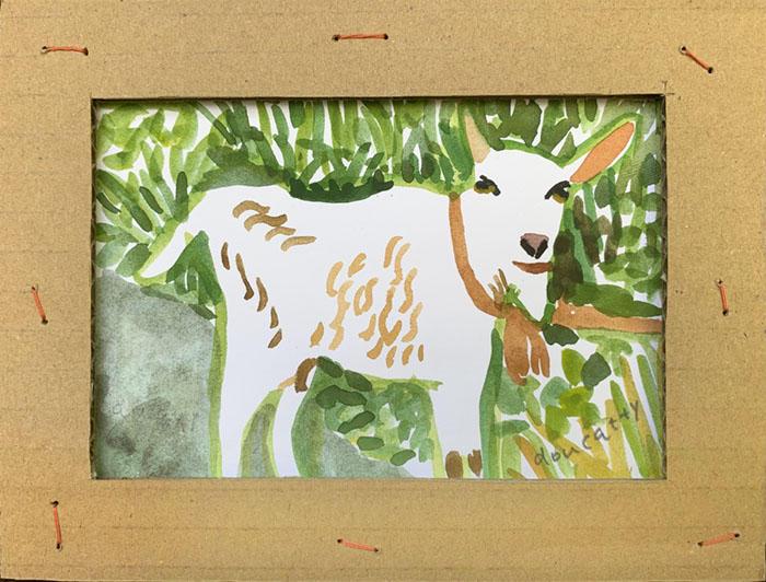 畑の道でヤギに会った。<br>I met a goat on the road in the field.<br>