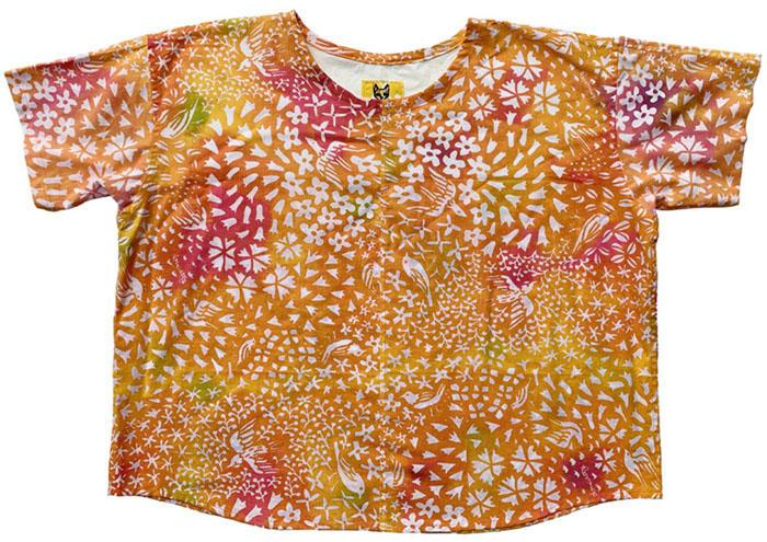 花鳥オレンジのコットンシャツ<br>Cotton Shirts - kachou orange<br>