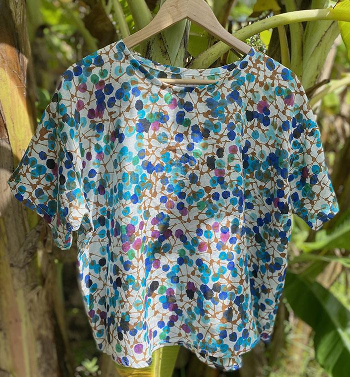 ブルーベリーのリネンシャツ<br>Linen Shirt - blueberry
