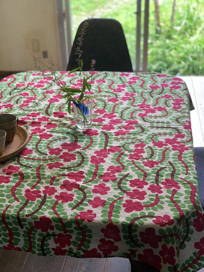 ポーチュラカのテーブルクロス<br />Ramie Tablecloth - portulaca<br />