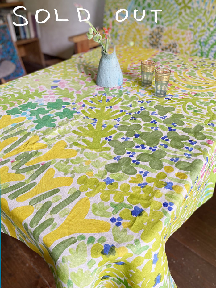 草のテーブルクロスその4<br />linen Tablecloth - weeds#4<br />