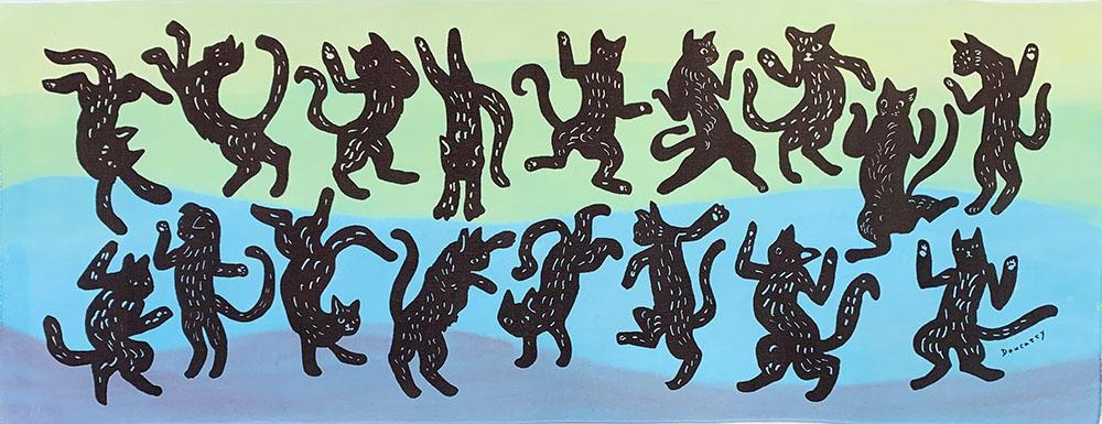 ダンス猫彩色  greenblue